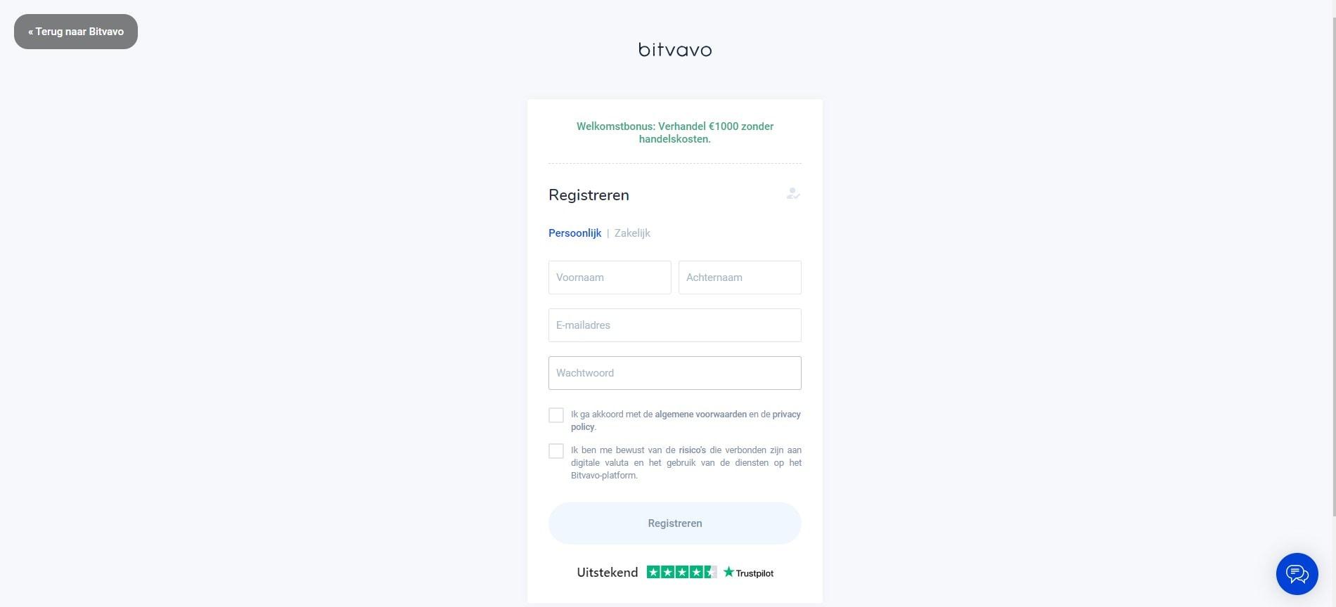 Aanmelden bij Bitvavo screenshot