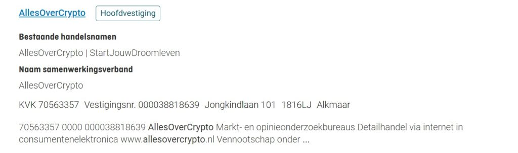 allesovercrypto bedrijfsgegevens