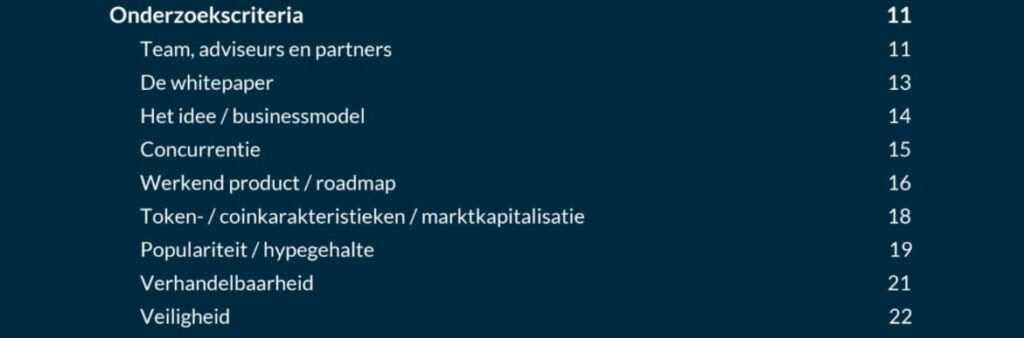 crypt parels review - screenshot inhoudsopgave onderzoekscriteria