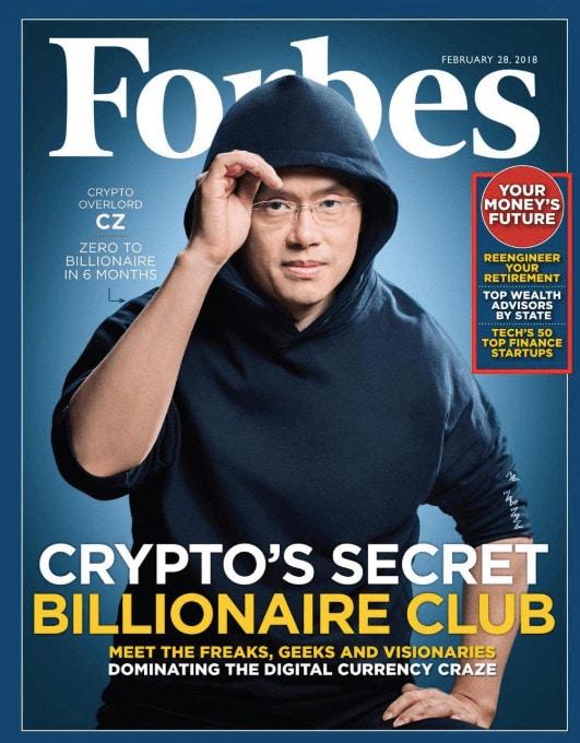 Chanpeng Zhao Binance oprichter op de Forbes cover