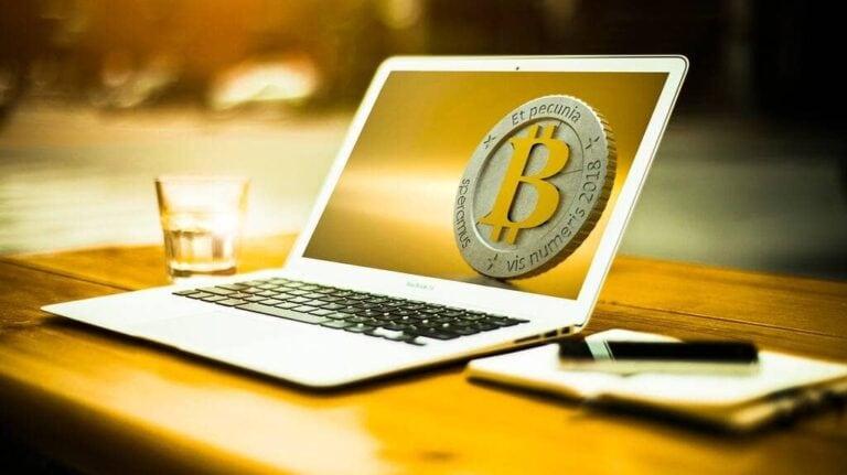 bitcoin en computer illustratie