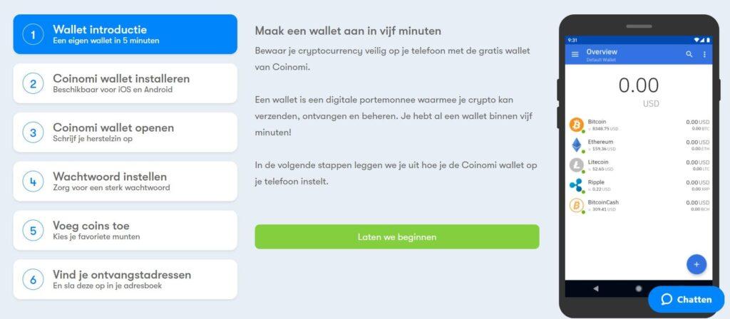 BTC Direct wallet aanmaken met Coinomi
