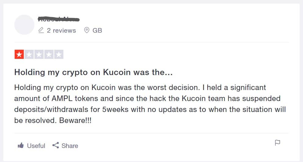 Kucoin review - slechte recensie