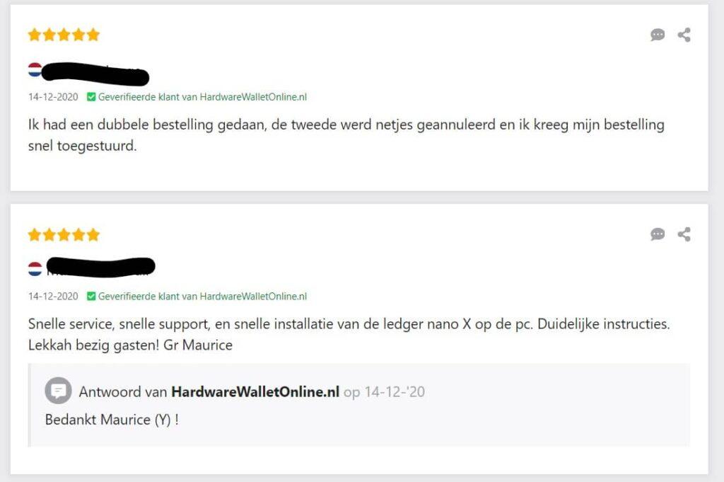 Hardwarewalletonline.nl recensie van klant