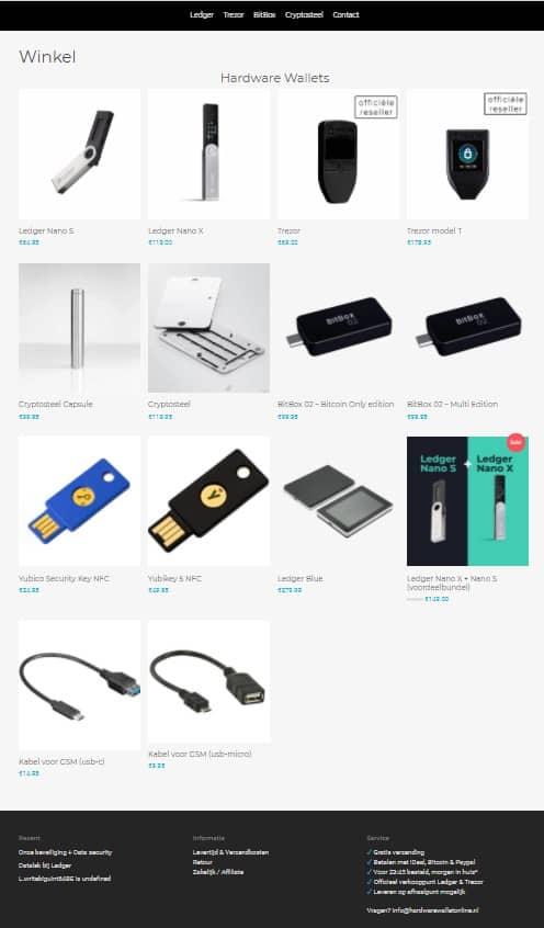 Hardwarewalletonline.nl review webshop screenshot