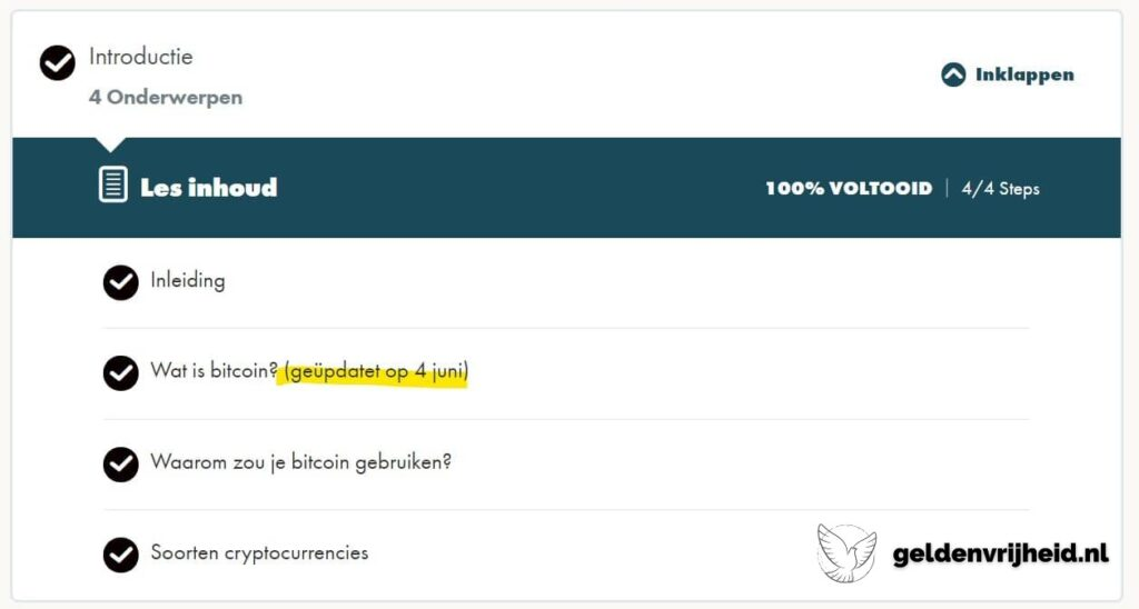 Inleiding van de bitcoin cursus