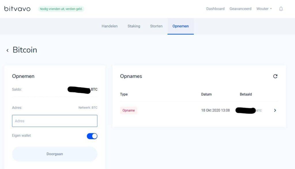Hoe werkt Bitvavo - Bitcoin opnemen of versturen