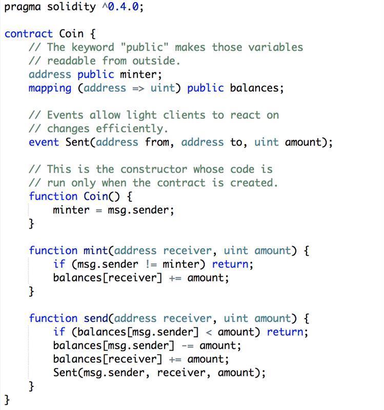 wat zijn smart contracts - voorbeeld in code