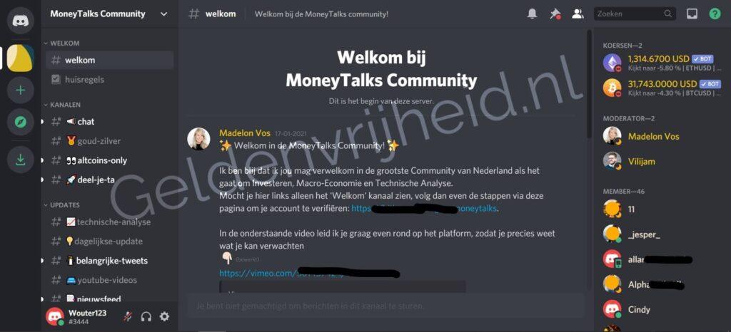 MoneyTalks Community - welkomstscherm screenshot