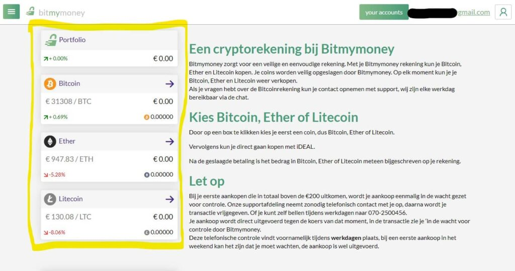 crypto kopen met iDEAL Bitmymoney uitleg
