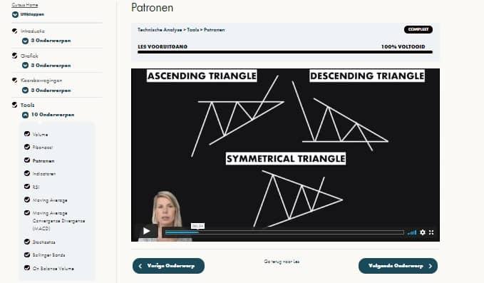 Patronen herkennen screenshot uit cursus technische analyse
