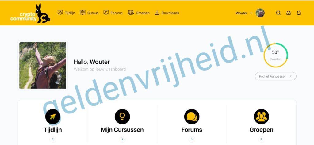 cryptocommunity review: screenshot welkomstscherm