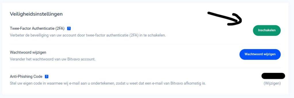 tweestapsverificatie 2fa instellen bitvavo - instellingen