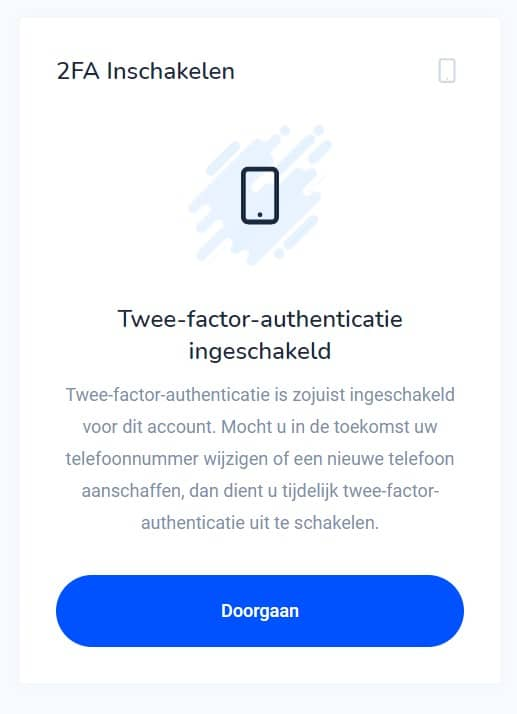 tweestaps verificatie ingeschakeld