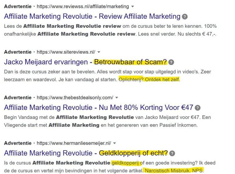 affiliate marketing revolutie review zoekresultaten