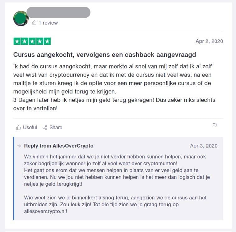 Crypto Masterclass review - geld terug garantie