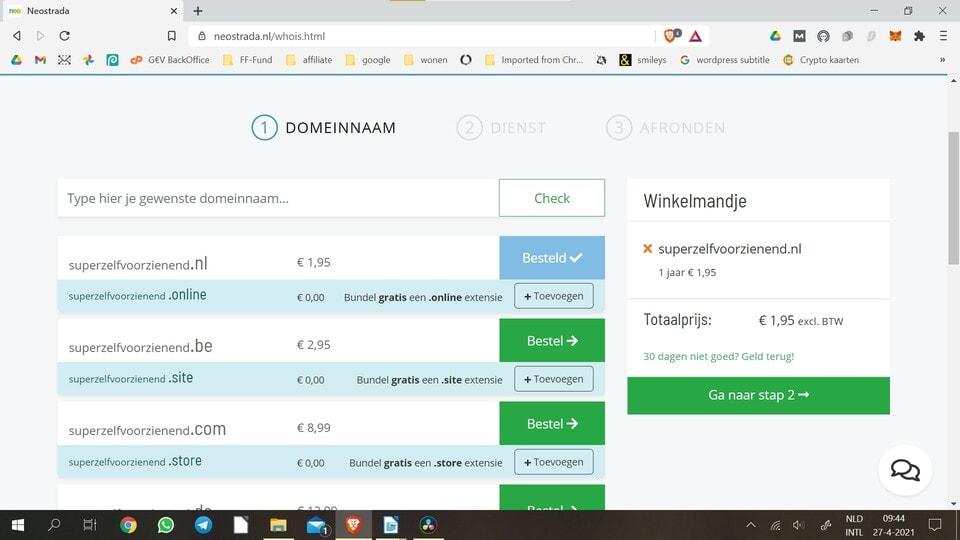 Affiliate website maken 1: domeinnaam registreren