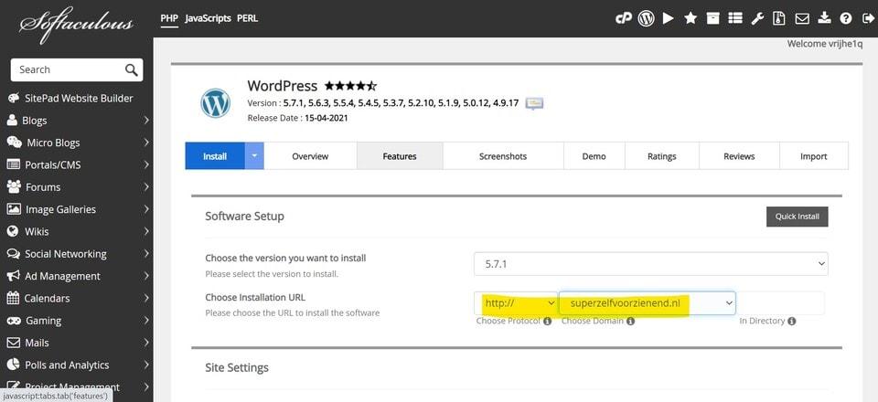 Affiliate website maken: WordPress Installeren instellingen