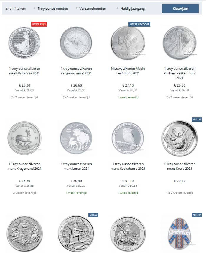 The Silver Mountain selectie zilver bullion munten