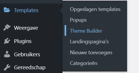 Wordpress navigatie naar Themebuilder