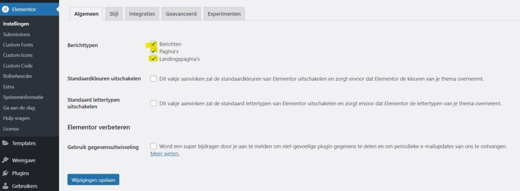 Elementor instellingen in WordPress Dashboard